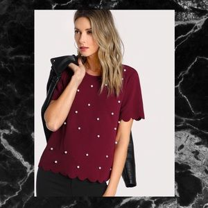Tops - 🖤BURGUNDY PEARL EMBELLISHED TOP🖤